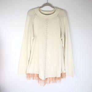 Coldwater Creek Cream Angora Fringe Sweater
